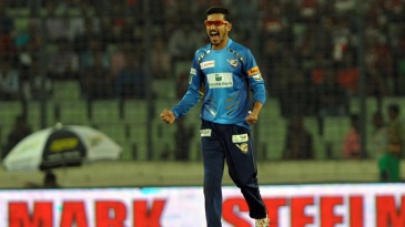 Nasir Hossain roars after taking a wicket