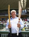 Barry Richards holds the bat with which he made 325 in a day at the WACA in 1970 in his right hand, and David Warner's modern-day weapon in his left, Australia v New Zealand, 3rd Test, Adelaide, November 27, 2015