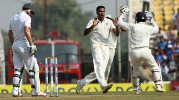 R Ashwin celebrates the wicket of AB de Villiers