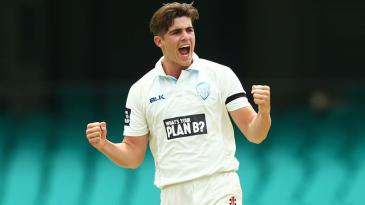 Sean Abbott celebrates a wicket