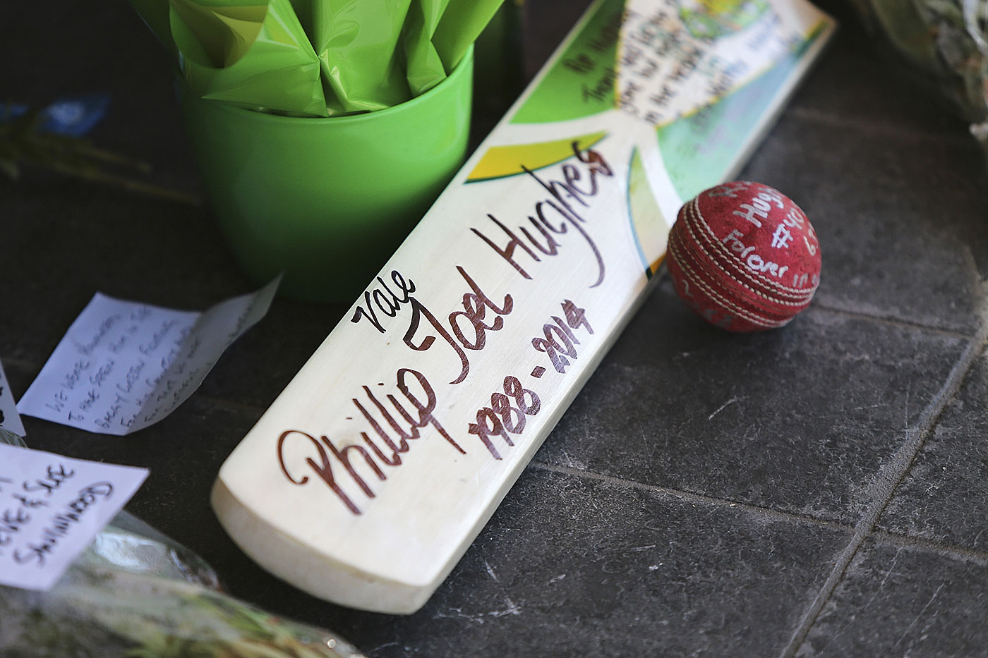 Tributes for Phillip Hughes at Adelaide Oval