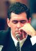 Former South African cricket captain Hansie Cronje breaks down at the end of his cross-examination before the King Commission of Inquiry into match-fixing allegations in Cape Town 23 June 2000.
