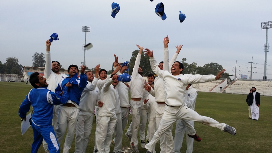 FATA players celebrate after qualifying for the main round of Quaid-e-Azam trophy