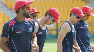 Hong Kong players warm up before their T20I victory against Afghanistan