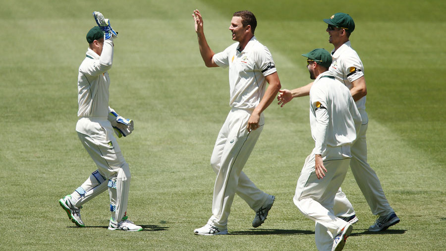 Josh Hazlewood struck in his first over of the afternoon