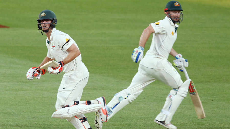 Shaun and Mitchell Marsh batted together for the first time in international cricket