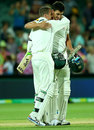 Peter Siddle and Mitchell Starc embrace after a tense finish, Australia v New Zealand, 3rd Test, Adelaide, 3rd day, November 29, 2015
