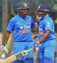 Sarfaraz Khan and Ricky Bhui during their match-winning partnership, India Under-19s v Bangladesh Under-19s, Tri-Nation Under-19s Tournament, Kolkata, November 29, 2015
