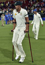 Mitchell Starc walks on to the field in crutches, Australia v New Zealand, 3rd Test, Adelaide, 3rd day, November 29, 2015