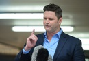 Chris Cairns speaks to reporters after the end of a nine-week trial in court, November 30, 2015