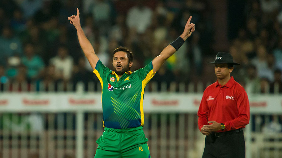 Shahid Afridi brings out the trademark celebration
