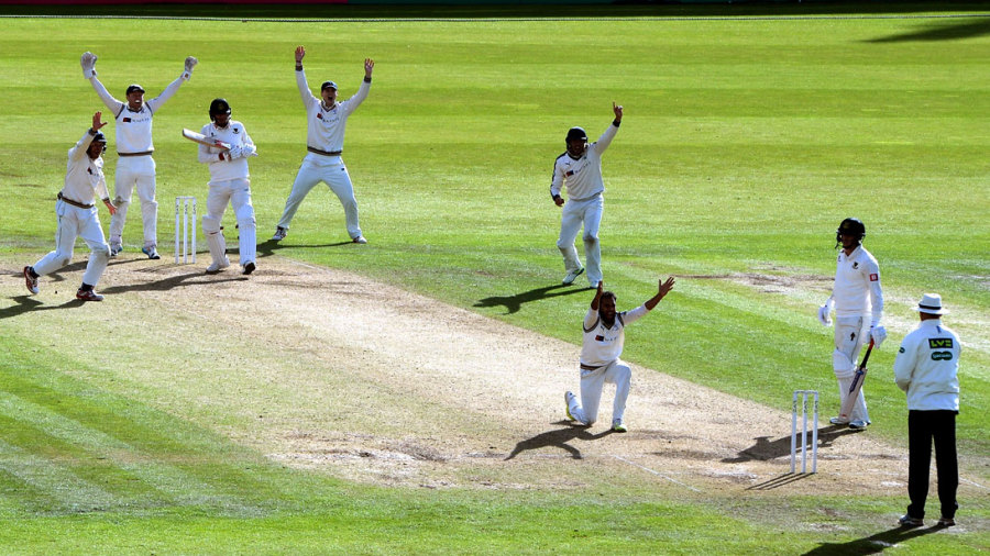 Adil Rashid appeals for Chris Liddle's wicket