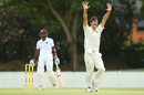 James Bazley appeals for a wicket, Cricket Australia XI v West Indians, tour game, Brisbane, 1st day, December 2, 2015