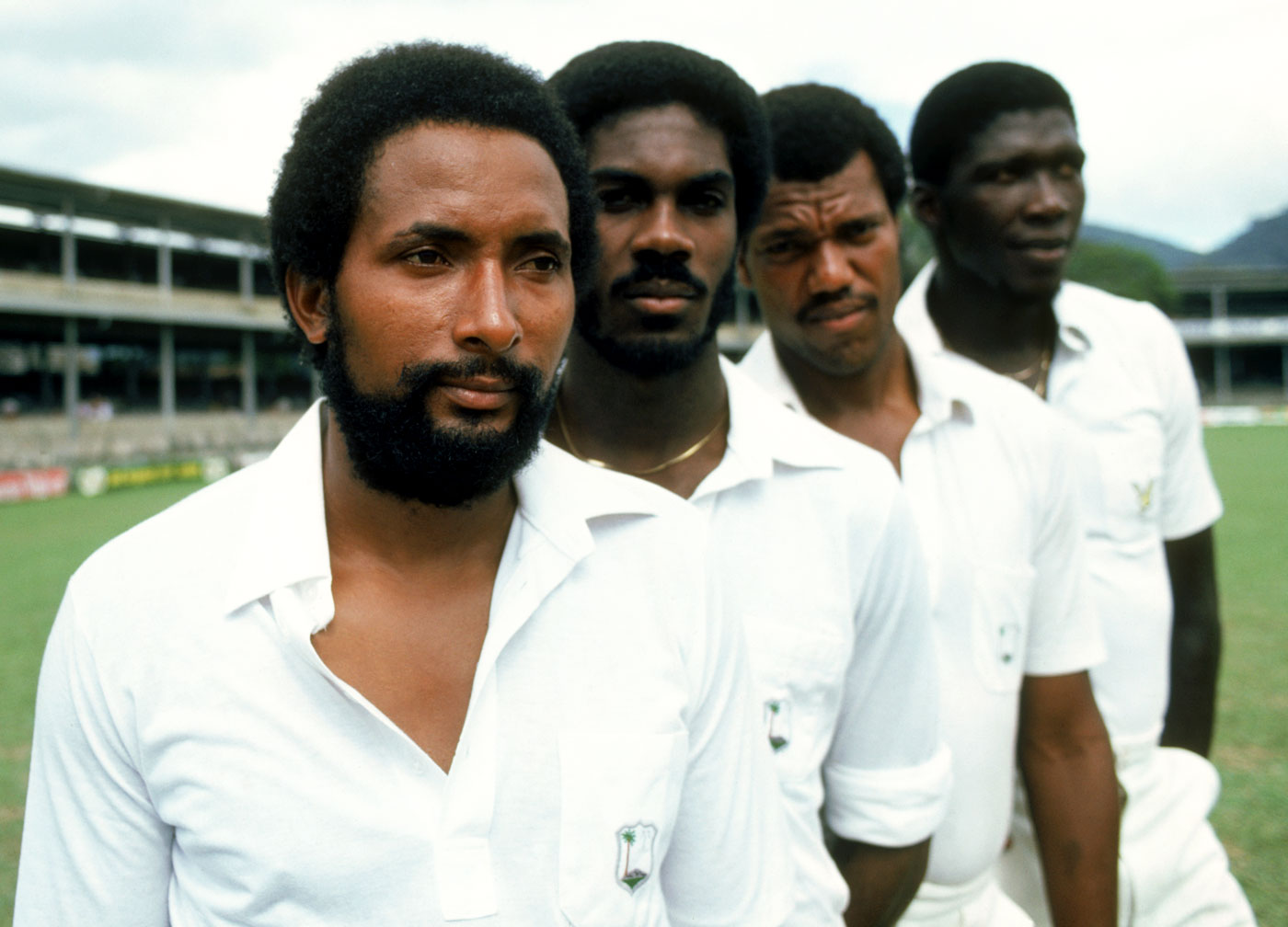 Grow your 'fro (but not too big): Andy Roberts, Michael Holding and Colin Croft look stylishly fierce while Joel Garner leaves the intimidation to his bowling