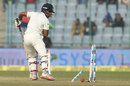 Wriddhiman Saha looks back to find clattered stumps, India v South Africa, 4th Test, 1st day, Delhi, December 3, 2015