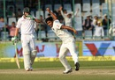 Umesh Yadav is pumped after bowling JP Duminy, India v South Africa, 4th Test, Delhi, 2nd day, December 4, 2015