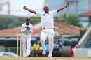 Chris Barnwell roars after taking his fifth wicket, Trinidad & Tobago v Guyana, Regional Four-Day Tournament, 1st day, Port-of-Spain, December 4, 2015