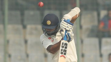 M Vijay was adjudged caught, though the ball hit his arm guard