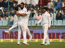 Imran Tahir is lifted by AB de Villiers after the wicket of Cheteshwar Pujara, India v South Africa, 4th Test, Delhi, 3rd day, December 5, 2015