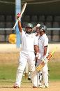 Assad Fudadin raises his bat after reaching his century, Trinidad & Tobago v Guyana, Regional Four-Day Tournament, 3rd day, Port-of-Spain, December 6, 2015
