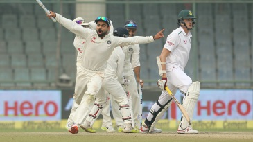 Virat Kohli takes off after his first Test series win as captain at home