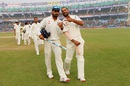 Top guns: M Vijay and Shikhar Dhawan celebrate India's win,  India v South Africa, 4th Test, Delhi, 5th day, December 7, 2015