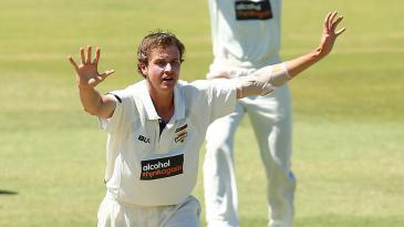 Joel Paris appeals for a wicket