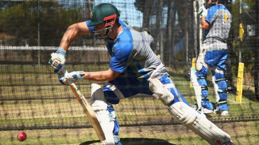 Shaun Marsh plays a defensive stroke in a practice session