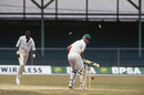Meyrick Pringle is bowled by Curtly Ambrose, West Indies v South Africa, day five,  only Test, Bridgetown, April 23, 1992
