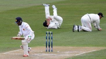 Dinesh Chandimal was caught off the second ball of the day