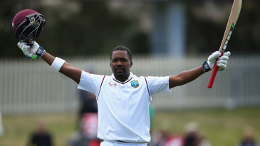 Darren Bravo celebrates his hundred