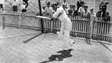 Don Bradman practises in the nets at the SCG