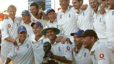 Michael Vaughan and England pose with the Basil D'Oliveira Trophy