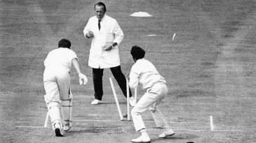 John Jameson is run out off a deflection by Bhagwath Chandrasekhar
