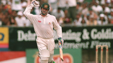 Steve Waugh celebrates his century