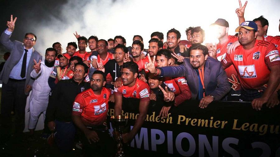 A jubilant Comilla Victorians side celebrate their BPL title triumph