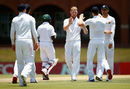 Ben Stokes claims the wicket of Somila Seyibokwe, SA Invitational XI v England XI, Potchefstroom, 2nd day, December 16, 2015