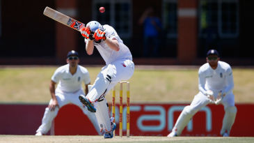 Heinrich Klaasen ducks a bouncer during his innings of 48