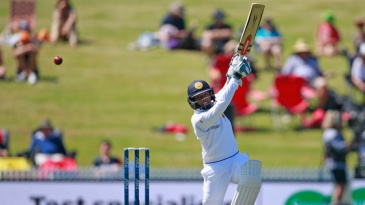 Kusal Mendis tries to loft over the off side