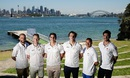 Nathan Lyon, Peter Neville, Sean Abbott, Pat Cummins, Usman Khawaja and Mitchell Starc pose during a promotional event, Sydney, December 18, 2015