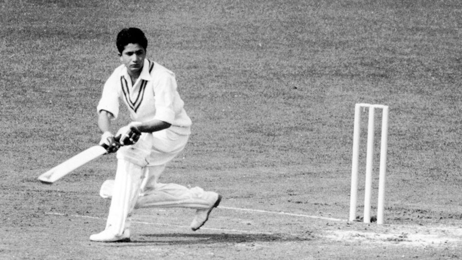 Hanif Mohammad plays a shot during his half-century