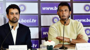 Anurag Thakur and Sandeep Patil address the press after the selection meeting