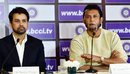 Anurag Thakur and Sandeep Patil address the press after the selection meeting, Delhi, December 19, 2015