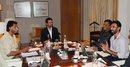 Sandeep Patil, Anurag Thakur, MS Dhoni and Vikram Rathour during the selection meeting, Delhi, December 19, 2015