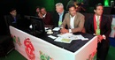 Dean Jones and Wasim Akram of Islamabad United at the draft, PSL draft, Lahore, December 21, 2015