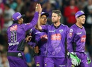 Daniel Christian celebrates a wicket with his team-mates, Hobart Hurricanes v Brisbane Heat, BBL 2015-16, Hobart, December 22, 2015