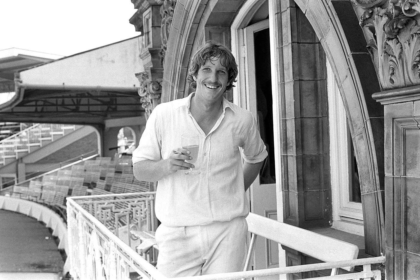 Botham on the Lord's balcony in 1978 after the small matter of scoring 108 and taking 8 for 34 against Pakistan