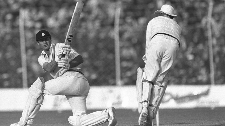 Geoff Boycott sweeps on his way to passing Garry Sobers' world record aggregate of Test runs