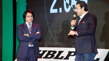 Wasim Akram and Ramiz Raja speak at the PSL draft