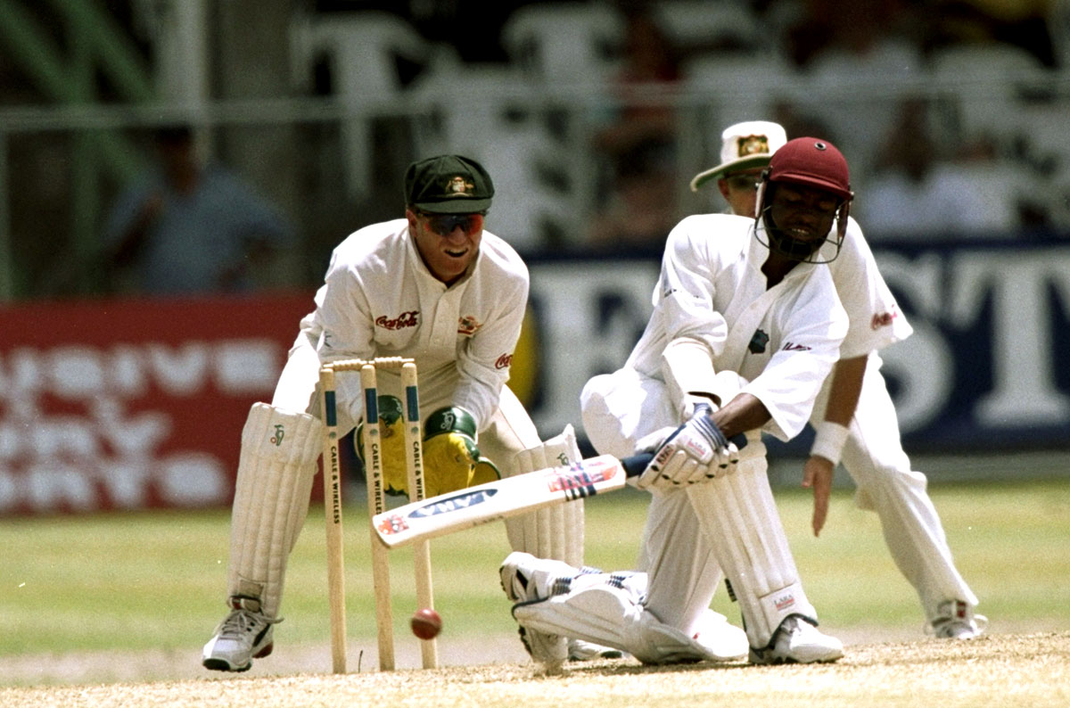 Lara sweeps on his way to 153 not out at the Kensington Oval